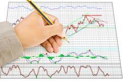 Handen skriver finansgrafen för handelaktiemarknad Arkivbilder