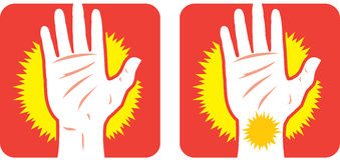 Handen smärtar symbolen Fotografering för Bildbyråer