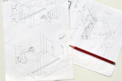 Handen som dras av badrum, skissar och ritar Arkivbilder