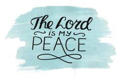 Handen som märker Herren, är min fred som göras på vattenfärgbakgrund Royaltyfria Foton
