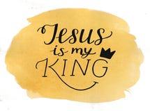Handen som märker Jesus, är min konung på vattenfärgbakgrund royaltyfria bilder