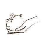 handen som rymmer det piggy myntpengarkassaskåpet, skissar Royaltyfri Fotografi