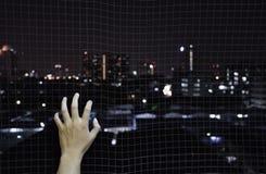 Handen som rymmer på netto bur för järn, önskar att gå stadsbakgrunden arkivfoto