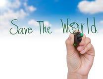 handen sparar världen skriver Royaltyfri Bild