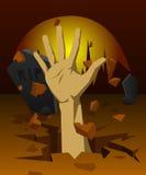 Handen steg från graven på natten Arkivbild