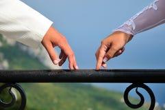 Handen van bruid en bruidegom Stock Fotografie