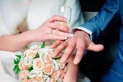 Handen van de bruid en de bruidegom royalty-vrije stock foto's