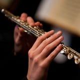 Handen van de mens die een fluit spelen Royalty-vrije Stock Afbeelding