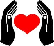 Handen van de mens en het hart Royalty-vrije Stock Fotografie