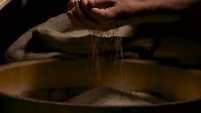 Handen van de mens en rijst stock video