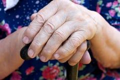 Handen van de oude vrouw stock foto