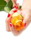 Handen van de vrouw met namen toe Stock Afbeelding