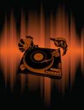 Handen van DJ over Bruine Achtergrond. royalty-vrije illustratie