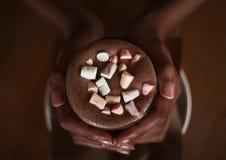 Handen van een Afrikaanse cacao van de meisjesholding met een heemst royalty-vrije stock fotografie