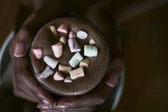 Handen van een Afrikaanse cacao van de meisjesholding met een heemst royalty-vrije stock foto's