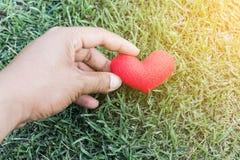 Handen van een mens die een rood hert houden als symbool van liefde valentijnskaart D Stock Afbeelding