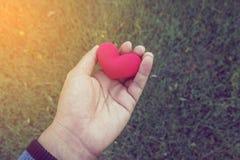 Handen van een mens die een rood hert houden als symbool van liefde valentijnskaart D Royalty-vrije Stock Fotografie