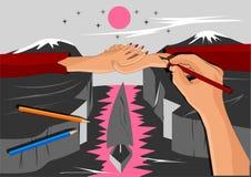 Handen van een paar in liefde, in het beeld van de kunstenaar royalty-vrije illustratie