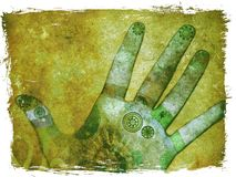 Handen van groene chakraenergie - Stock Fotografie