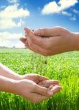 Handen van landbouwers met grond Royalty-vrije Stock Fotografie