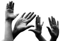 Handen van mensen die op wit worden geïsoleerdr Stock Afbeeldingen