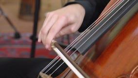 Handen van musicus het spelen cello dicht omhoog FDV stock videobeelden