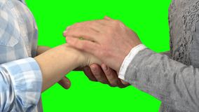 Handen van twee vrouwen Het groene scherm Sluit omhoog stock footage