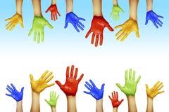 Handen van verschillende kleuren Stock Foto