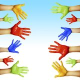 Handen van verschillende kleuren Stock Fotografie