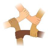 Handen van verschillende rassen Stock Foto
