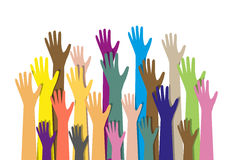 Handen verschillende kleuren culturele etnische diversiteit royalty-vrije illustratie