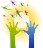 Handen, vogels royalty-vrije illustratie