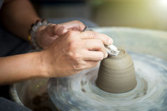 Handenclose-up met kop Stock Foto