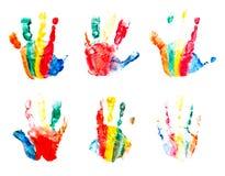 Handendrukken door kinderen worden gemaakt dat Stock Foto's