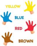 Handenkleuren met brieven Stock Foto's
