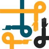 Handenlijnen - samenwerking en hulpsymbool Stock Fotografie