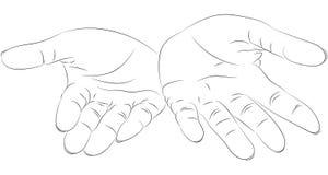 Handenpalmen omhoog Zwart-witte illustratie vector illustratie