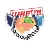 Handenschudden met geld en handcuffs arrestatie en eindecorruptio vector illustratie