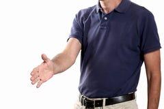 Handerschütterungskonzept; bemannen Sie Angebot, das seine Hand zur Erschütterung auf weißem Hintergrund mit Kopienraum lokalisie Lizenzfreie Stockbilder