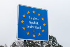 Federal Republic of Germany border sign at Handewitt. Handewitt, Germany - February 14, 2019: Federal Republic of Germany border sign at Handewitt stock image