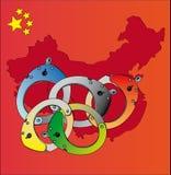 handfängslar den olympic logoen Arkivfoto