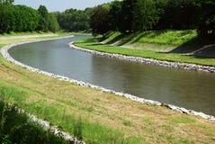 handfatet reglerade floden Arkivfoto