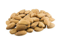 Handful of almonds. On a white background Stock Images