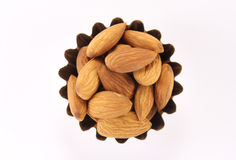 Handful almonds in figured form. Handful almonds  in figured form on a white background Stock Images