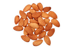 Handful of almonds nuts isolated. On white royalty free stock photos
