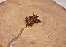 Handful of anise on a cross-cut a tree. A handful of anise on a cross-cut a tree Royalty Free Stock Photos