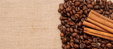 Handful aromatic coffee beans Stock Images