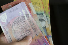 A handful of Australian paper mony Stock Images