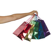 Handful of Bags. Handful of shopping bags isolated over white Stock Photos