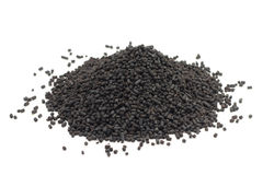 A handful of black catalyst pellets Stock Photos